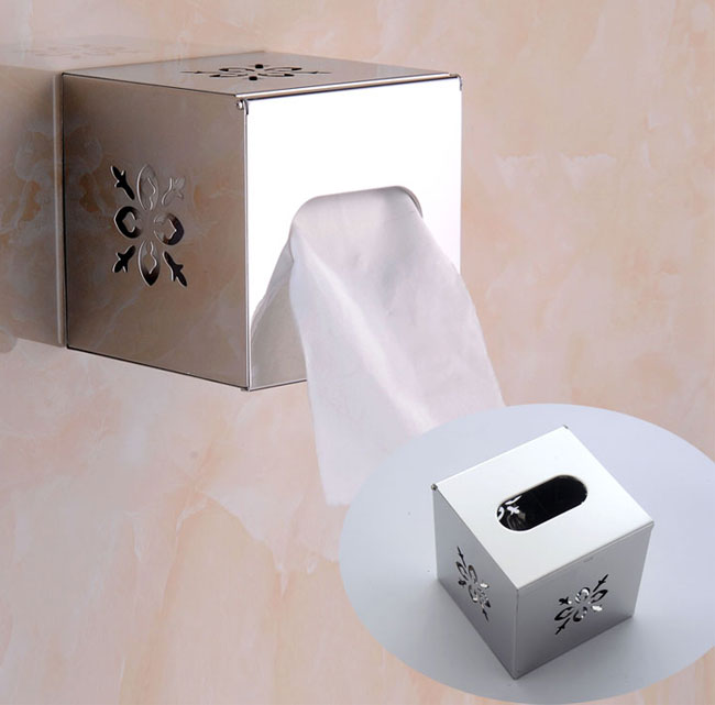 Square Tissue Box Holder for Wall Mount or Counter Top ... on Wall Mounted Tissue Box Holder id=99399