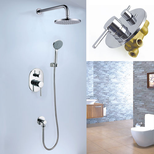 bathroom 8 chrome shower head rainfall hand shower chrome valve set home improvement plumbing fixtures