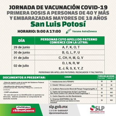 SLP y Soledad inician vacunación a personas de 40 años y más