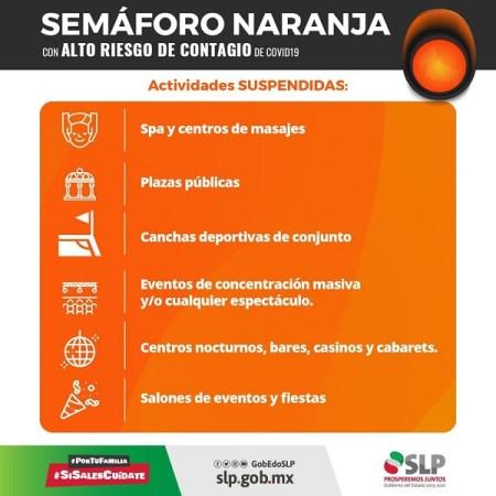 Restricción de actividades comerciales y aforos a partir del lunes 9 de agosto por semáforo naranja en SLP