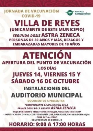 Villa de Reyes reiteró la invitación para la aplicación de vacuna COVID-19