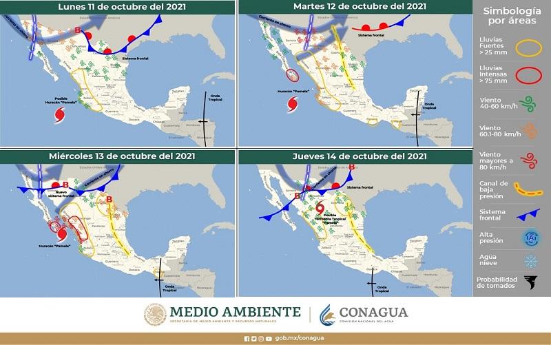 Se prevén intervalos de chubascosdurante la semana en regiones de San Luis Potosí