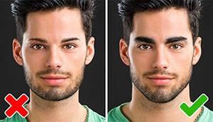 Дебели вежди и квадратна брадичка