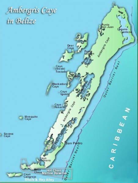 Ambergris Caye Map-San Pedro-Belize