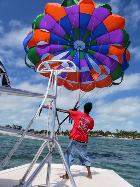 Parasailing off Ambergris Caye - Victoria House Belize.