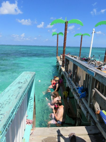 Water seating at Palapa Bar, San Pedro, Belize