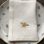 Linen Tablecloth And Napkins Off White Linen Napkin With Bee Embroidery