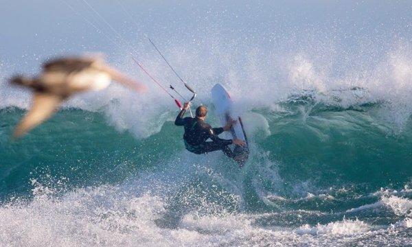 Kitesurfing at Solo Sports at Punta San Carlos Surf Camp in Baja California, Mexico
