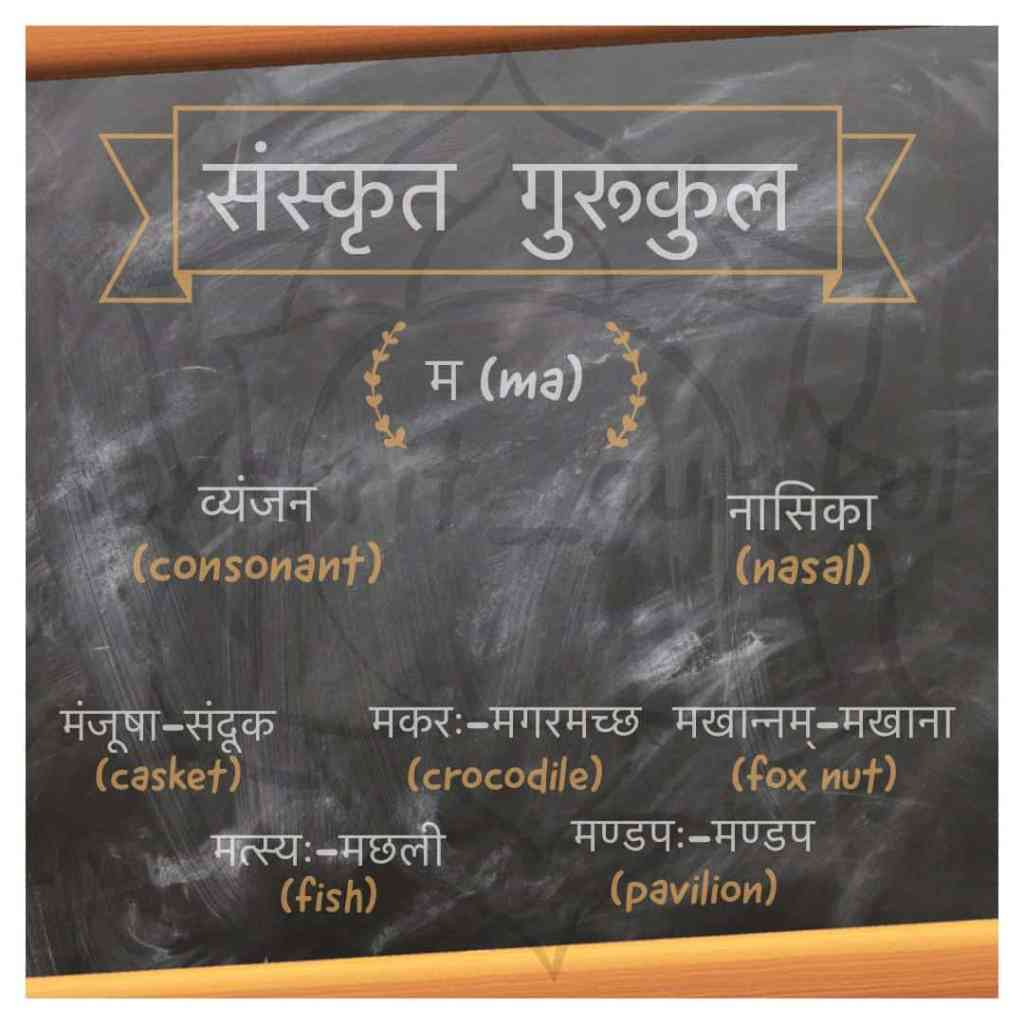 example of words with ma पवर्ग (Labial)