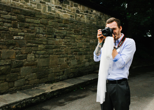 Chris holding a Bride's Veil and still shooting away!