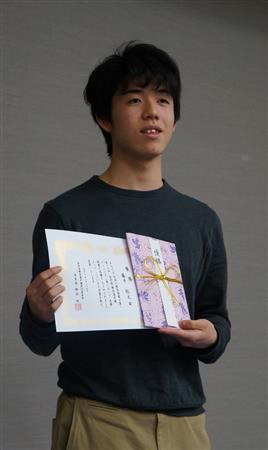 第15回詰将棋解答選手権チャンピオン戦で4連覇を達成した藤井聡太六段=名古屋市中区