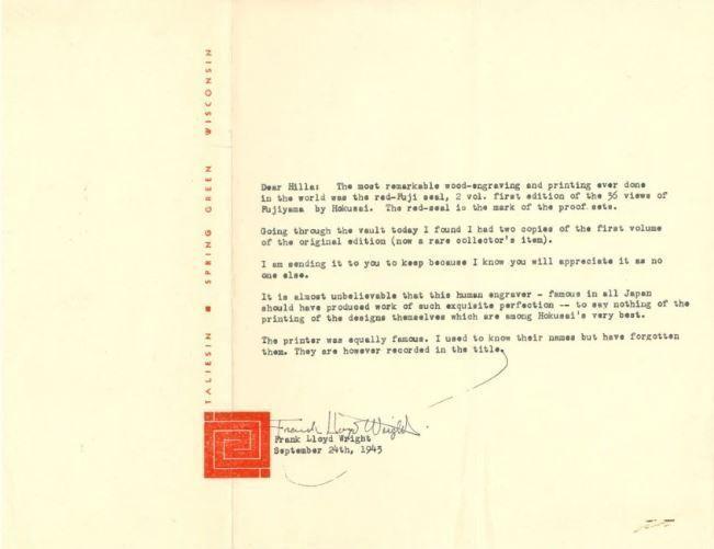 Carta de Frank Lloyd Wright a Hilla Rebay (24 de septiembre 1943).