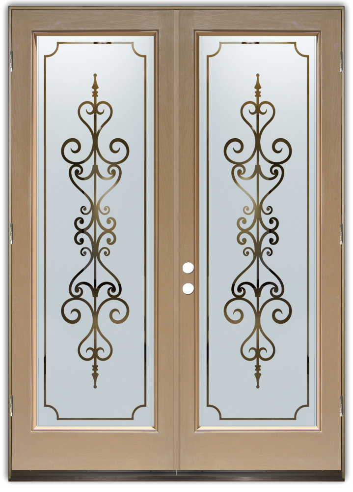 Double Entry Doors With Frosted Glass Designs Sans Soucie Art Glass