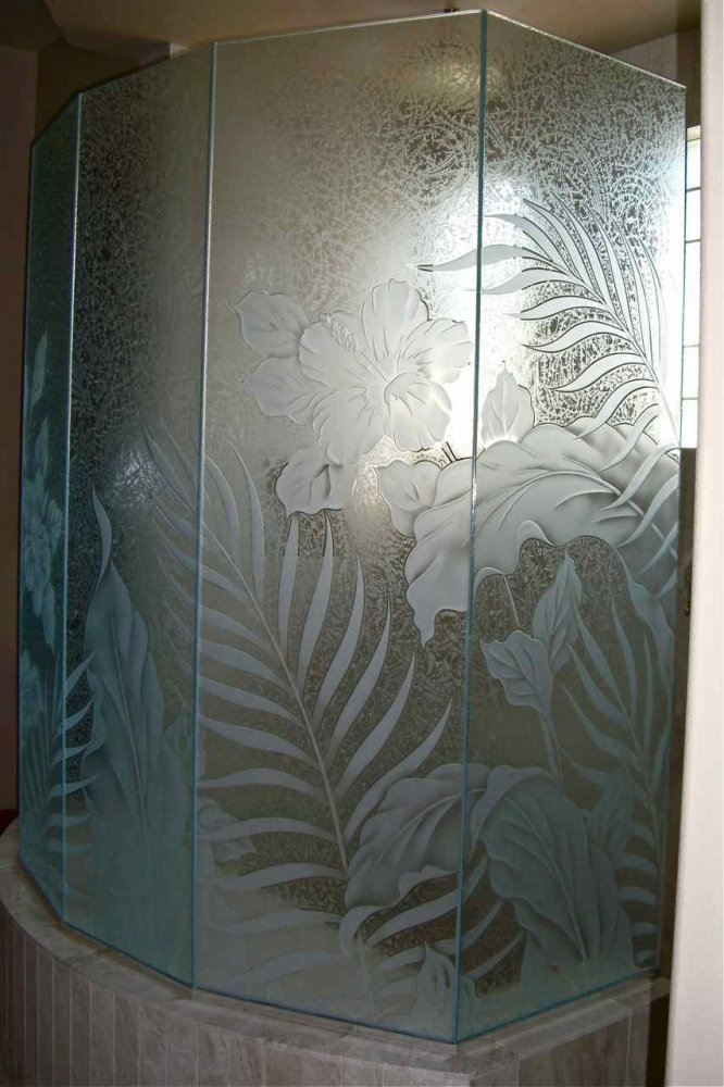 Hibiscus Paradise Glass Shower Etched Glass Tropical Style