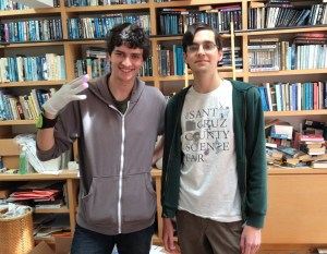 Zohar Wouk (left) and Abe Karplus (right) flaunt their new light glove design. (Photo credit: Paige Welsh)