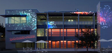 Projections on the Digital Arts Research Center building by DANM grad student Steve Gerlach (Contributed)