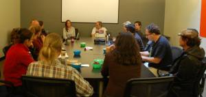 Santa Cruz Freelancers at a recent roundtable discussion. (Photo credit: S. Millavise)
