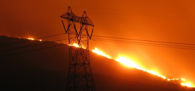 Photo of fire on power lines