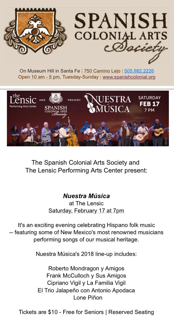Spanish Colonial Arts Society Presents Nuestra_Música ...