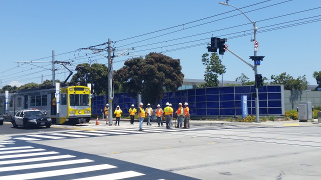 On its way west to 4th Street, the Expo test train passed in front of Santa Monica's Big Blue Bus depot. The municipal transit agency is planning the one of the most comprehensive service realignments in its history to better connect with the Expo line.