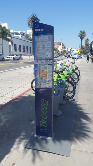 The Downtown bike-share test hub is located at 4th Street and Arizona Ave.