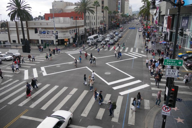 A scramble crossing at the busy intersection at Hollywood and Vine. Photo via L.A. Great Streets.