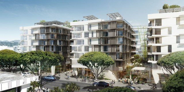 500 Broadway (pictured here) and its sister project, the 100 percent affordable 1626 Lincoln Blvd. project, were both approved this week. All renderings courtesy of Koning Eizenberg Architects.
