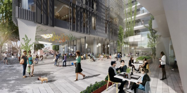 Another view of 500 Broadway's future ground floor plaza.