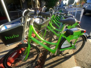 The distinctive bright green bikes of Santa Monica's bike share program are ready for use at a rental station on Ocean Park Boulevard. Santa Monica's program s offers 500 bicycles located at 85 different locations throughout the city and Venice.