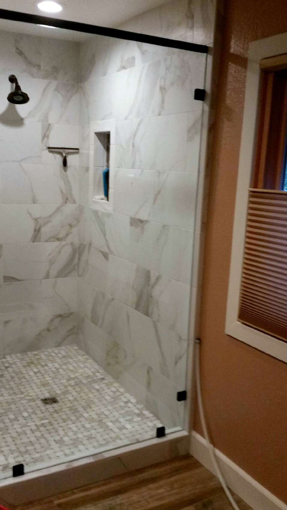 Shower Calacatta Basketweave And Kingswood Tile And