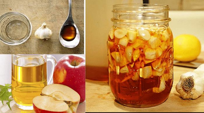 Ail, Miel et Vinaigre de cidre de pomme: Excellent remède à la maison