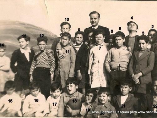Luis González Miñarro con sus alumnos, 1937.