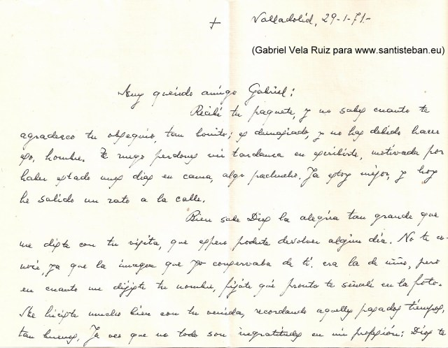Carta de D. Luis González Miñarro a Gabriel Vela Ruiz
