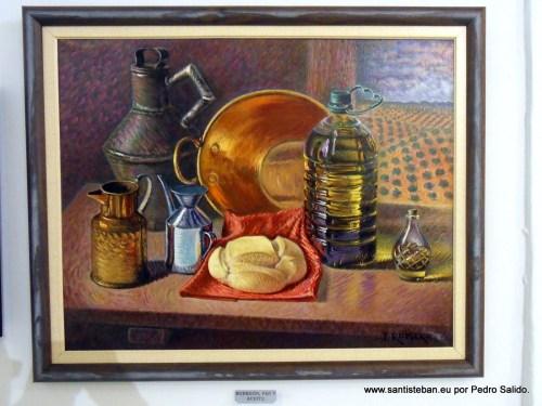 Bodegón, Pan y Aceite. Obra de José Romero Olid.