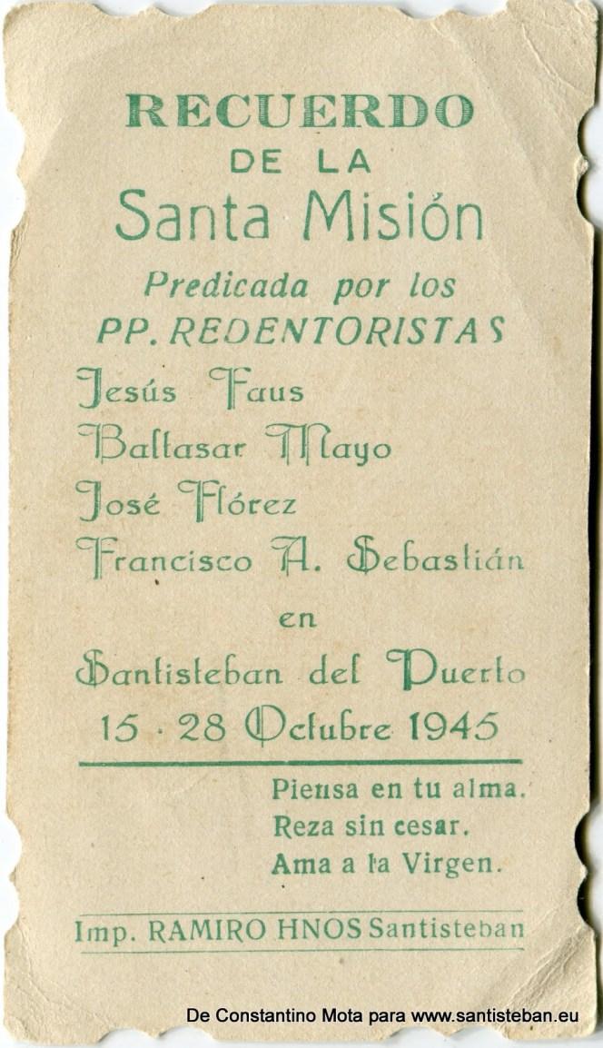 """Reverso del recuerdo de la Santa Misión Redentorista que pasó por Santisteban en el año 1945. Imprenta """"RAMIRO HERMANOS"""" de Santisteban"""