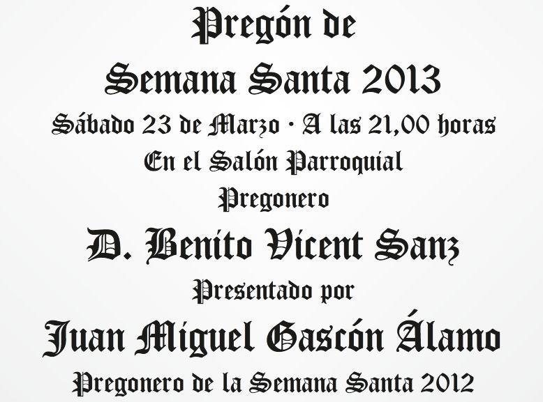 Semana Santa - Presentación Pregón 2013 y publicación Pregón 2012