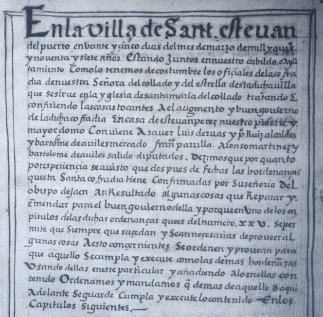 Documento Cofradía Virgen del Collado 1597