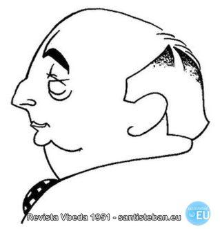 Caricatura de D. Mariano Sanjuán, por Domingo Molina Sánchez. Revista VBEDA. 1951.