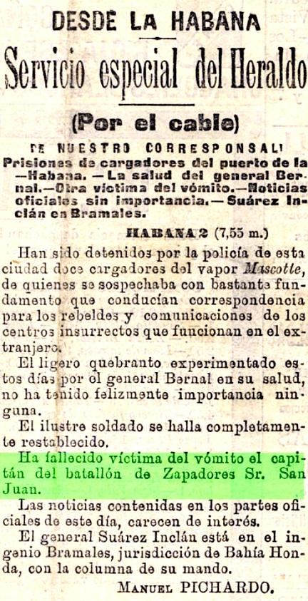 Primeras noticias del fallecimiento de D. Remigio Sanjuán y Roa. Diario El Heraldo. Agosto - 1896.