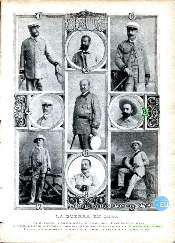 Página dedicada a los militares fallecidos en Cuba. Con el número 6, a la derecha, el capitán Remigio Sanjuán. Revista Blanco y Negro. 1896.