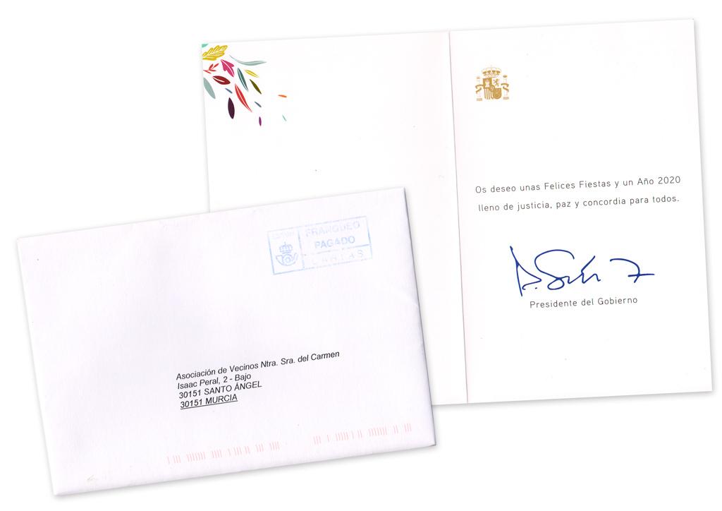 Postal de Navidad 2019 del Presidente de Gobierno de España Pedro Sanchez