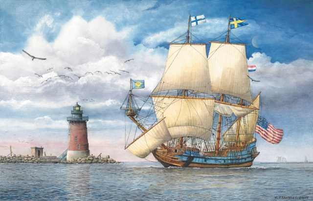 Kalmar Nyckel Under Sail Watercolor Paintings by N. Santoleri