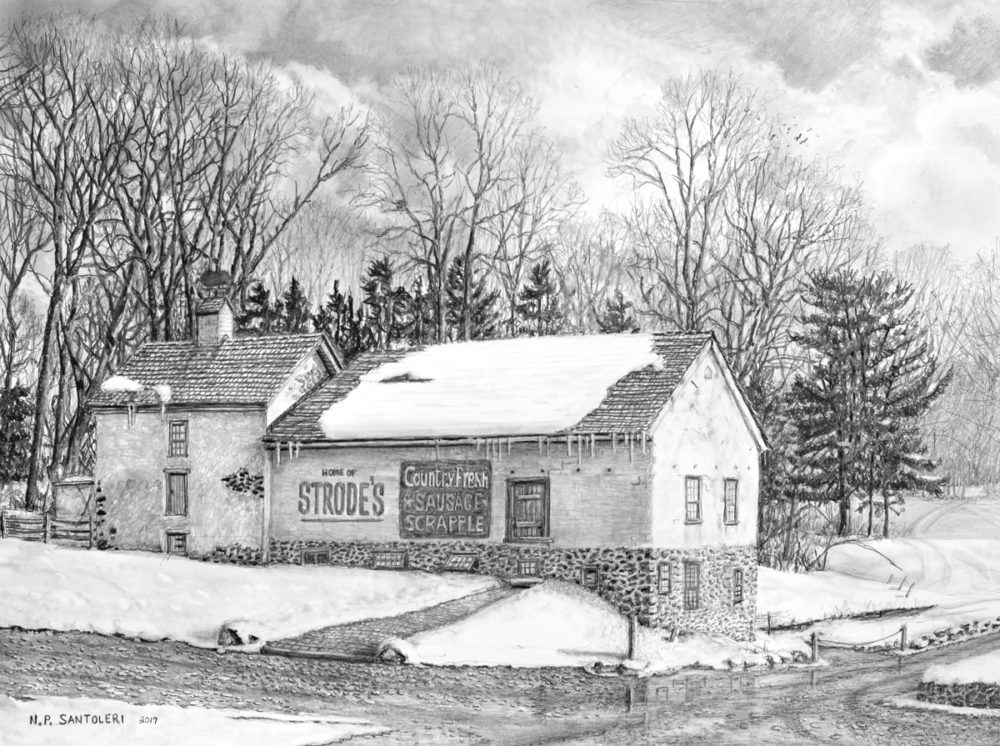 Strodes mill historic area located near west chester pa on a route i have passed many times through the years my drawing is of the strodes barn