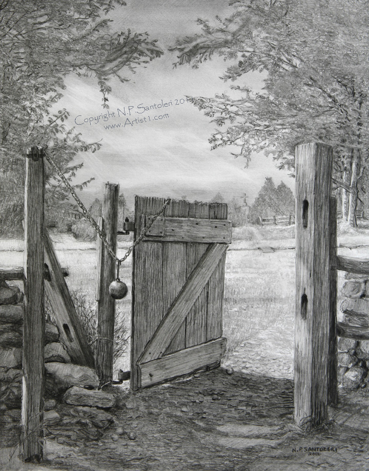 The gate by n santoleri 2011 pencil drawing