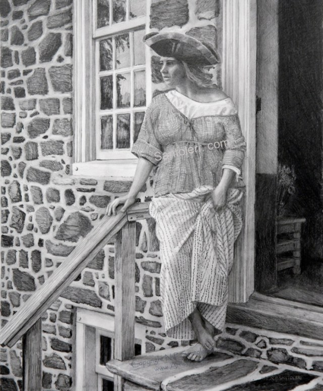 Prints of Woman With Tricorner Hat pencil drawing by Santoleri 2013
