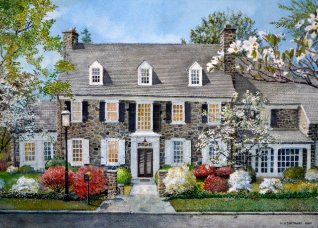 Commissioned watercolor painting of the residence or Mr. and Mrs. W.