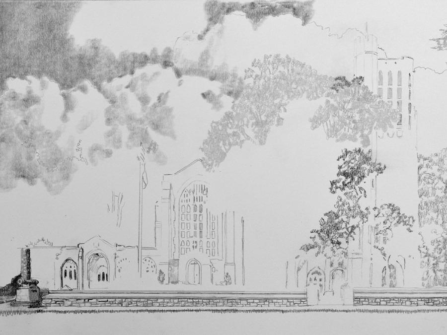 Washington Memorial Chapel Pencil drawing in progress 01 by Santoleri