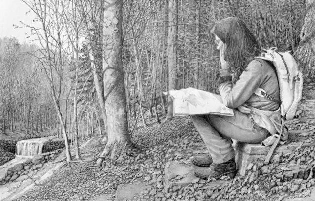 Hiking the Wissahickon Trail, Drawing By Nicholas Santoleri