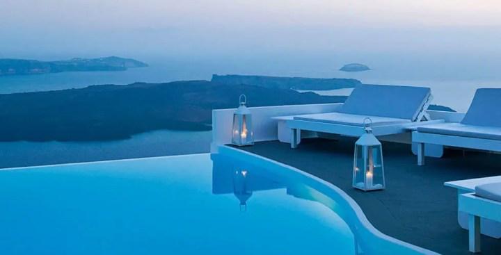 Piscine hotel chromata voyage santorin