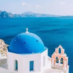 Santorin Bleu Toit Eglise
